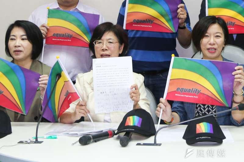 本月29日將舉行第14屆台灣同志大遊行,從總統兼民進黨主席蔡英文表示「支持婚姻平權」近一年,民進黨立委尤美女提出《民法》親屬編修正草案,婚姻約定由「男女」改為「雙方當事人」等(陳明仁攝)