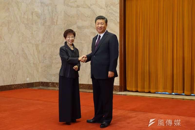 洪習會,國民黨主席洪秀柱(左)、中國共產黨中央委員會總書記習近平首度會面。(羅暐智攝)