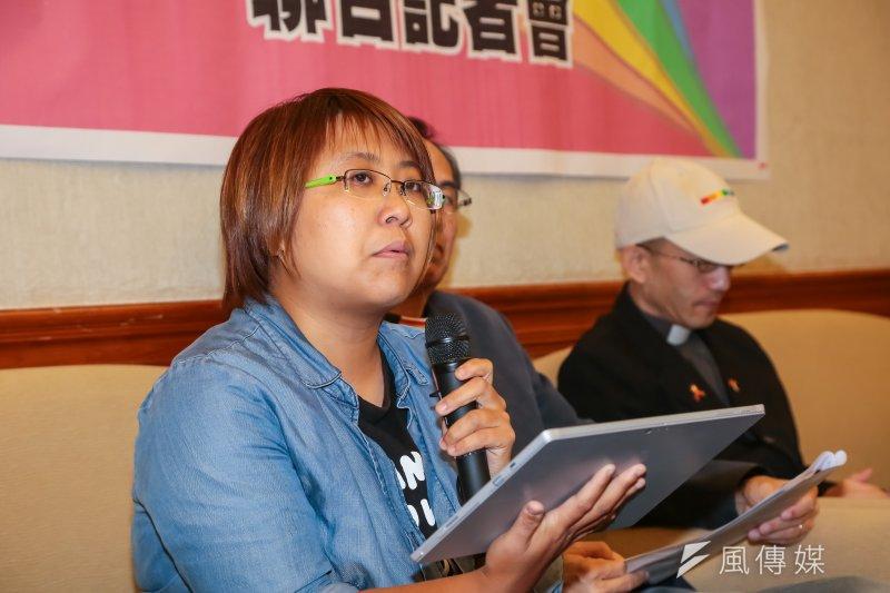 20161116-微光計劃成員陳小恩16日於立院召開「愛疼同志,教會裡的為消呼聲─基督徒同志盼平等」聯合記者會。(顏麟宇攝)