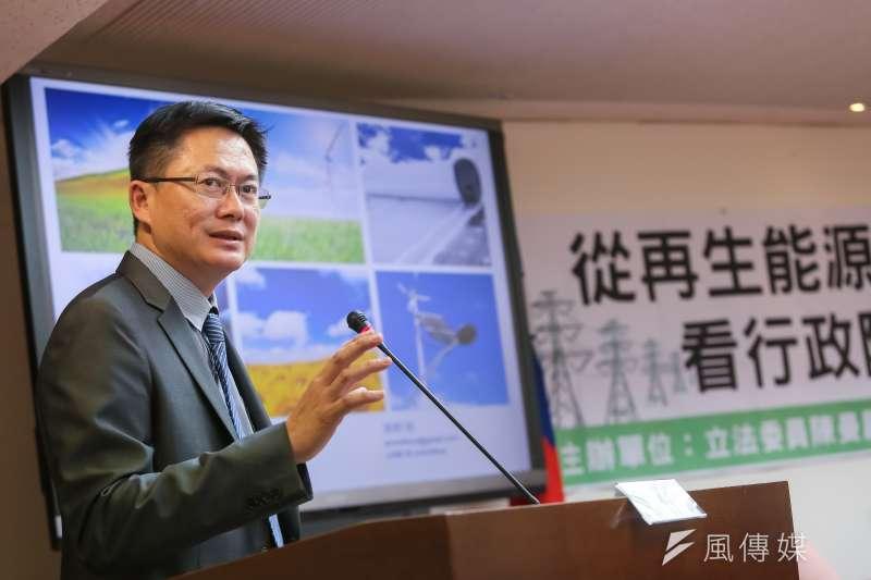 20161118-太陽能光電發電系統同業公會理事長郭軒甫18日出席「從再生能源看行政院版電業法」座談會。(顏麟宇攝)
