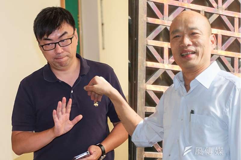 台北農產運銷公司總經理韓國瑜(右)近期興起了代表國民黨再戰「萬華─中正」區域立委的念頭,對決民進黨立委段宜康。(資料照,陳明仁、顏麟宇攝/影像合成:風傳媒)