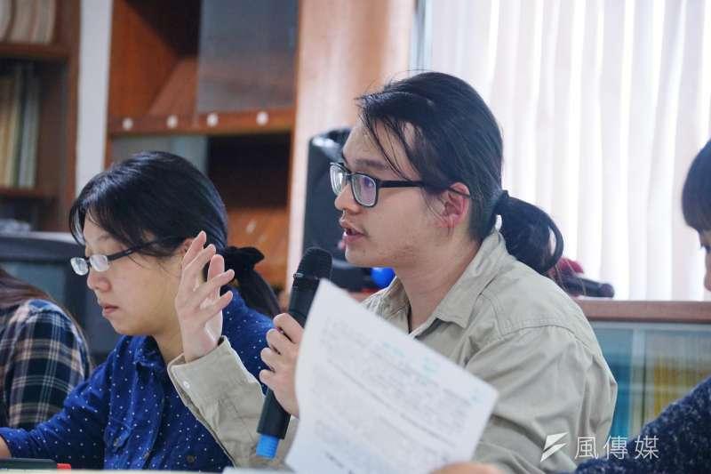 北中南跨校大學周邊薪資地圖調查記者會,工人先鋒協會吳昭儒。(盧逸峰攝)