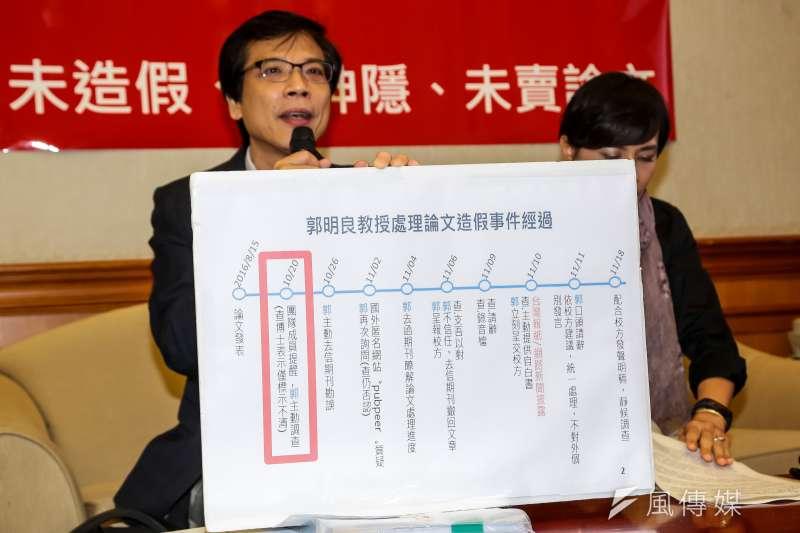 台大醫學院教授郭明良論文造假風波,隔了一個年還沒「結案」。(顏麟宇攝)