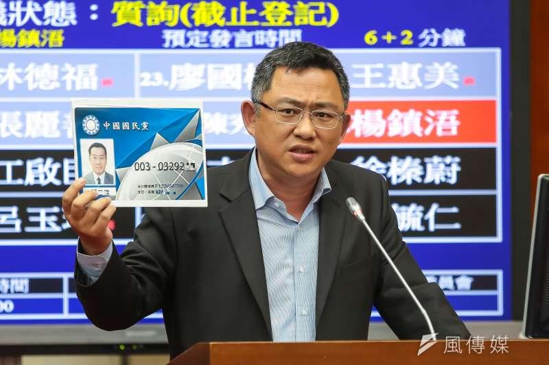 對於總統蔡英文表示「沒有人會排除中國武統台灣的可能性」,國民黨立委楊鎮浯認為,民進黨執政後的所做所為,正在擴大這樣的可能性。(資料照,顏麟宇攝)