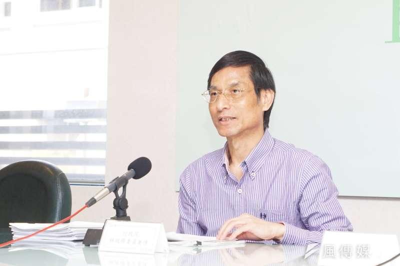年金改革國是會議記者會,政委林萬億發言。(盧逸峰攝)