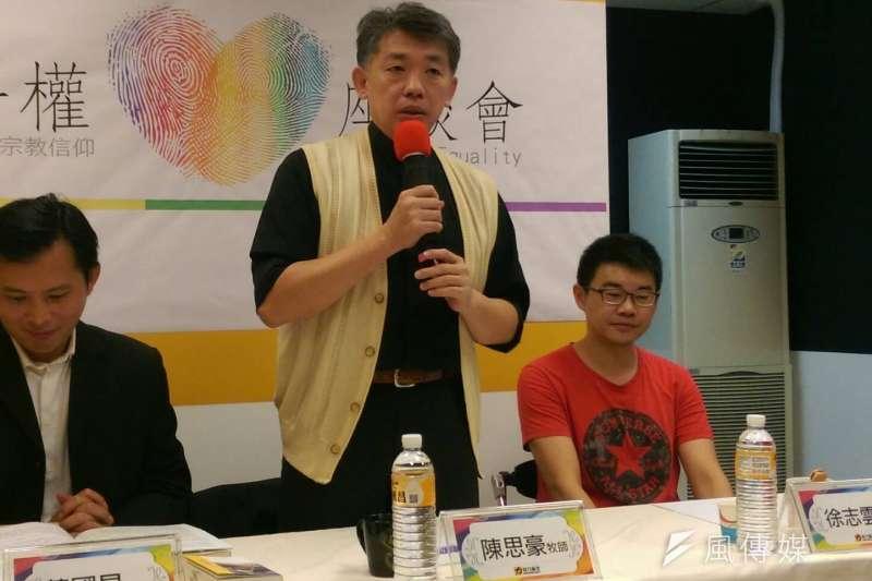 長老教會牧師陳思豪出席反同婚公投辯論。(資料照片,黃麒珈攝)