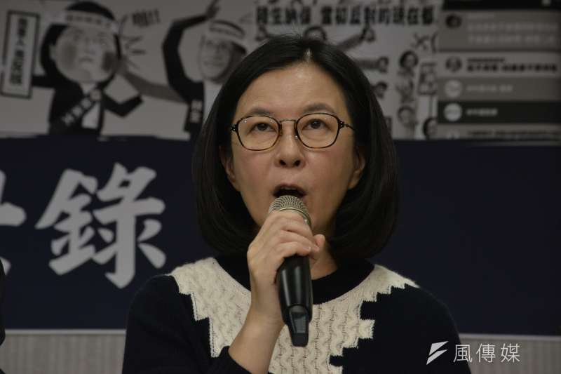 20161228-民進黨發言人記者會,民進黨發言人邱莉莉。(甘岱民攝)