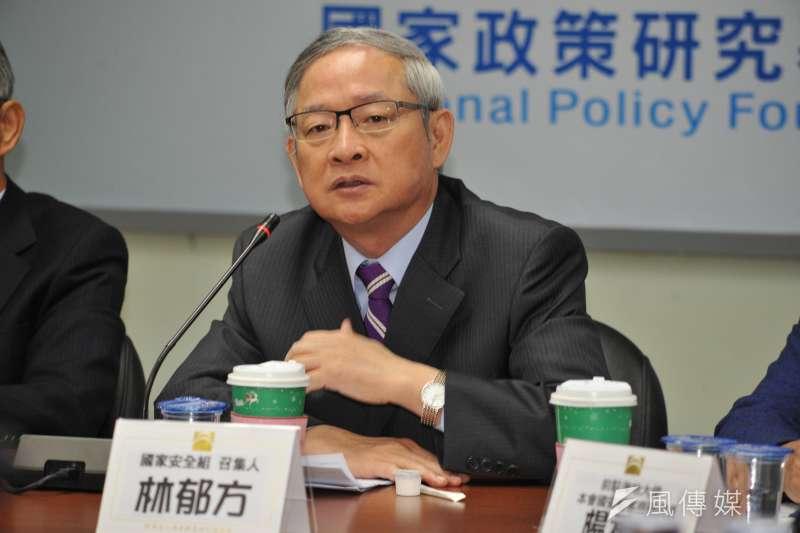 20161230-「謝志偉有失外交官分寸」記者會,前立委林郁方。(甘岱民攝)