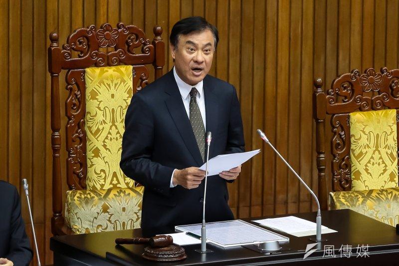 立法院長蘇嘉全5日於政黨協商後主持全院委員談話會。(顏麟宇攝)