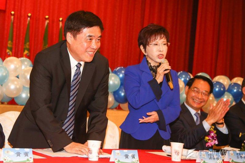 參選黨主席的國民黨正、副主席洪秀柱、郝龍斌8日出席中華民國青溪總會會員代表大會,兩人互動受關注(陳明仁攝)