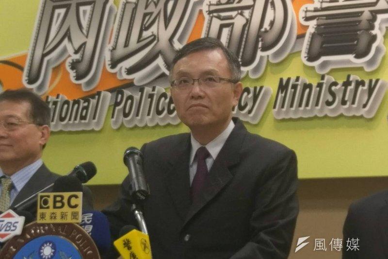 警政署針對黃之鋒遭攻擊事件召開記者會。(施孝衡攝)