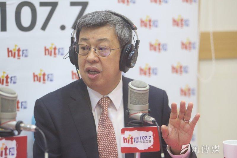 副總統陳建仁19日接受「蔻蔻早餐」節目專訪談年改。(陳明仁攝)