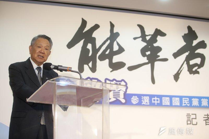 前國民黨副主席詹啟賢23日上午宣布參選國民黨主席。(陳明仁攝)