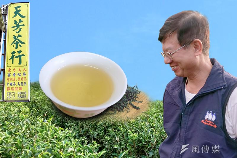 天芳茶行老闆兼製茶老師傅黃正忠從高中就開始製茶,茶香縈繞在身邊已超過半輩子的光陰,對於茶業有極高理想。(陳俐穎攝/影像合成:風傳媒)
