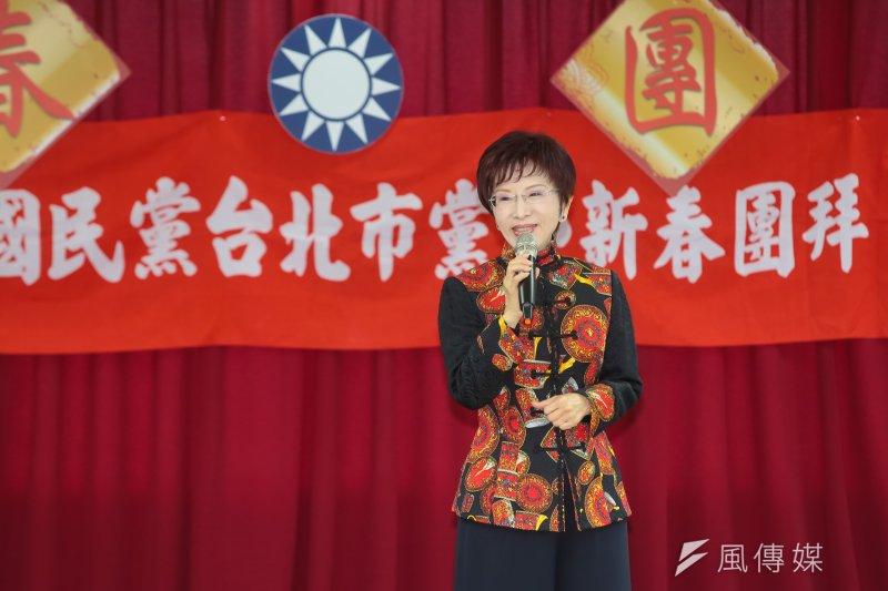 國民黨主席洪秀柱3日出席國民黨台北市黨部新春團拜。(顏麟宇攝)