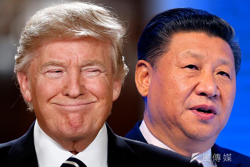 中美近期紛紛積極推動基礎建設。圖中為美國總統川普(左)與中國國家主席習近平(右)(AP/影像合成:風傳媒)