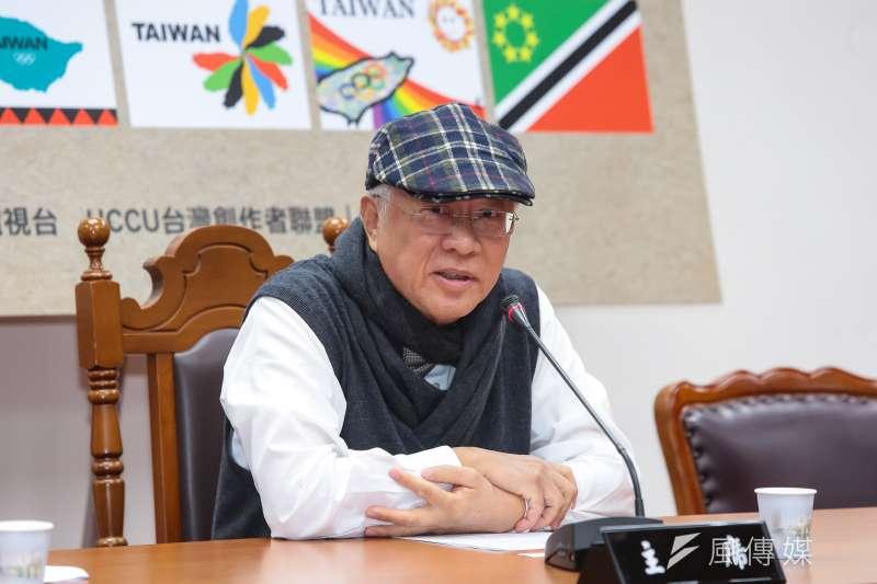20170215-民報文化基金會董事長陳永興15日出席「台灣奧運會旗,我來設計」得獎結果公佈記者會。(顏麟宇攝)