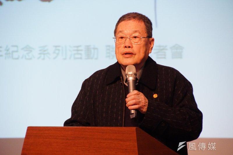 二二八70週年紀念系列活動記者會,台灣二二八關懷總會理事長潘信行致詞表示,「二二八已有真相,下一步是要還家屬公道」。(盧逸峰攝)