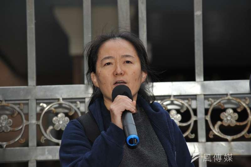 20170217-同志團體記者會,國小教師翁麗淑。(甘岱民攝)