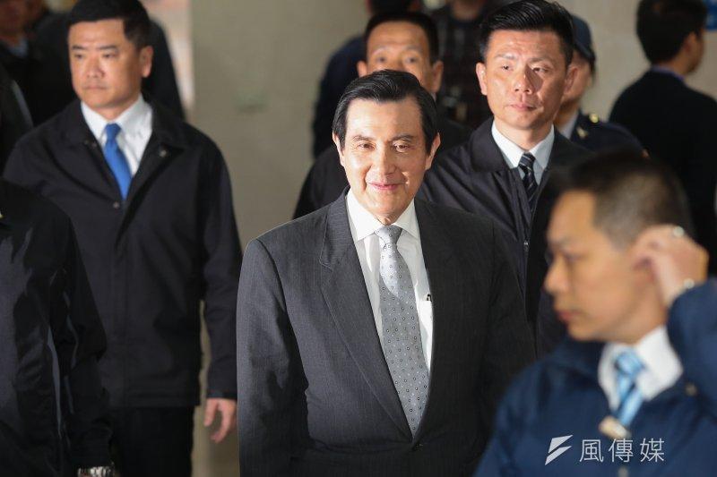 前總統馬英九到台北地院出庭。(顏麟宇攝)