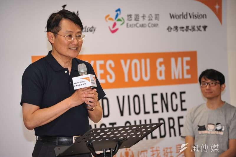 20170303-台灣世界展望會「中止兒童受暴 你我挺身做到」記者會,會長陳純敬致詞。(甘岱民攝)