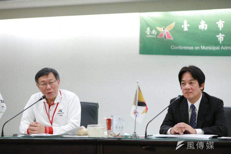 20170304-台北市長柯文哲(左)拜會台南市長賴清德,柯文哲表示,要來跟台南做城市旅遊、人本交通、世大運等方面的交流。(台北市政府提供)