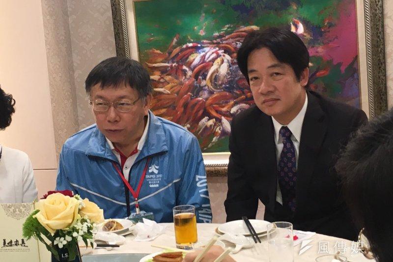 台北市長柯文哲4日上午前往台南市,被媒體問是否為對台南市長賴清德的「探底之旅」?柯回應,想太多了。(王彥喬攝)