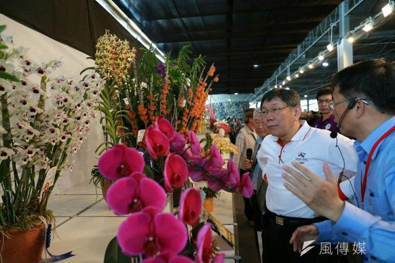 台北市長柯文哲5日下午於台南參觀「2017台灣國際蘭展」。(北市府提供)
