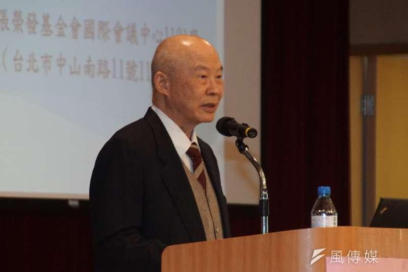 年金改革溯及既往違憲研討會,最高法院前院長楊仁壽。(盧逸峰攝)。