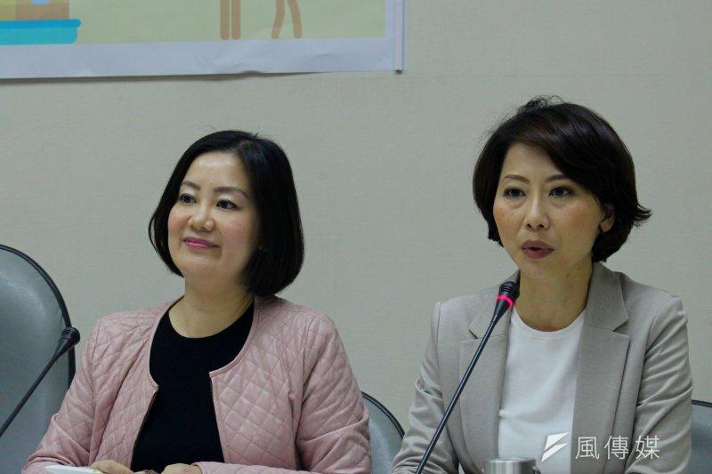 民進黨立委陳亭妃(右)指出,教育部如果不去制止並做出配套,她相信不只淡江,後續可能有更多兼職教師會被解聘。(方炳超攝)