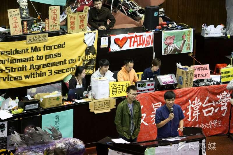 2014年3月18日爆發太陽花學運,反服貿學生們佔領立法院。(資料照,余志偉攝)