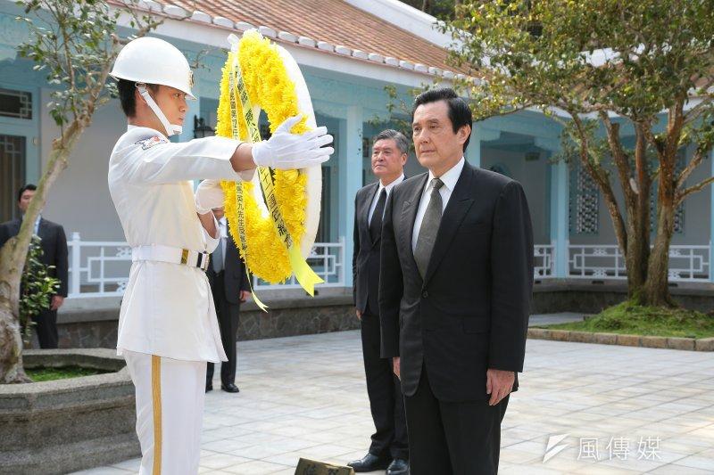前總統馬英九5日至慈湖謁陵。(顏麟宇攝)