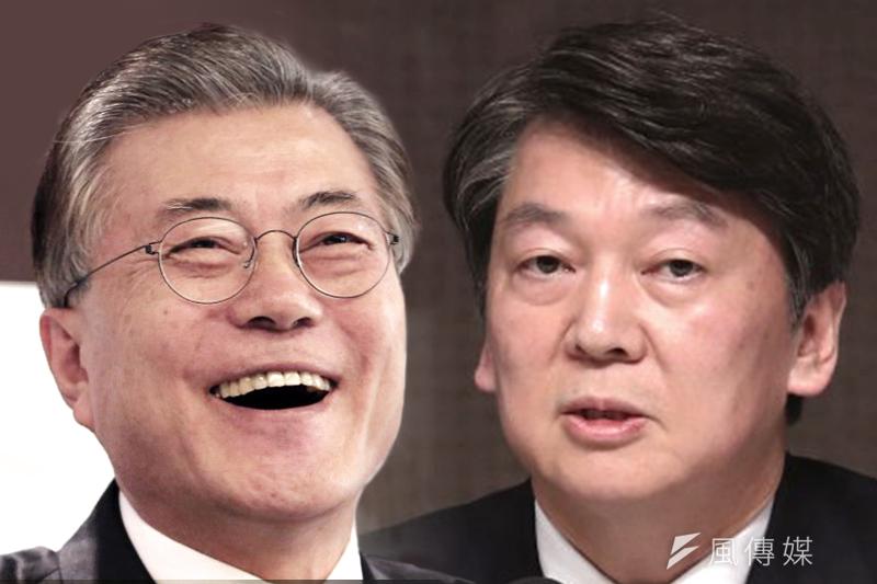 南韓總統候選人文在寅(左)支持度暫時領先,安哲秀(右)緊追在後(照片:美聯社/合成:風傳媒)