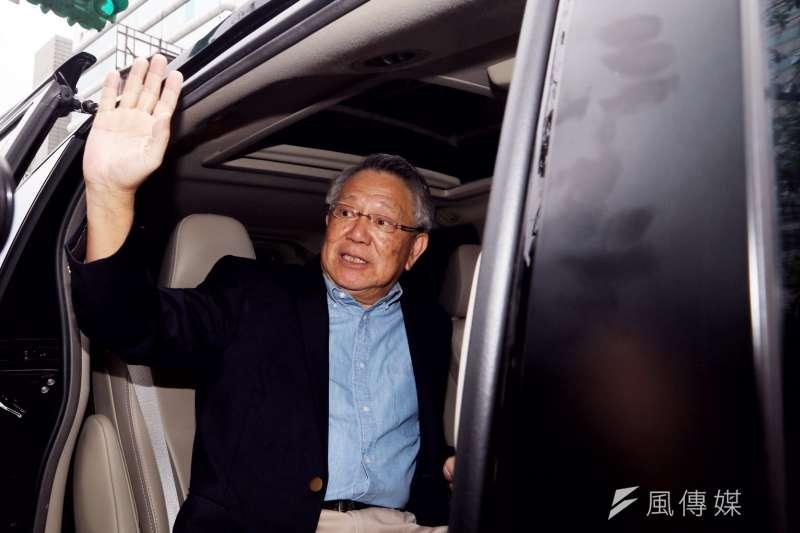 前國民黨副主席詹啟賢18日下午登記參選黨主席,他評估,一輪難定勝負,會努力走到底。(曾原信攝)