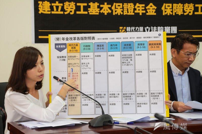 時代力量18日召開記者會,釋出黨團勞保年改版本草案。圖為洪慈庸說明草案內容。(顏麟宇攝)