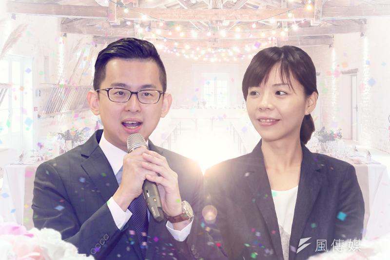 台中市新聞局長卓冠廷(丁志寬攝)與立委洪慈庸(顏麟宇攝)24日登記結婚。(風傳媒影像合成)