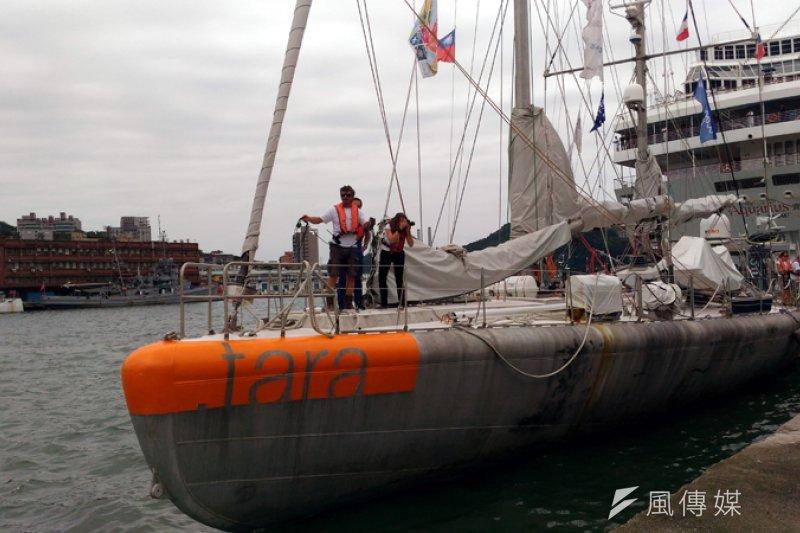 法籍研究調查帆船停靠基隆港東一碼頭。(圖/張毅攝)