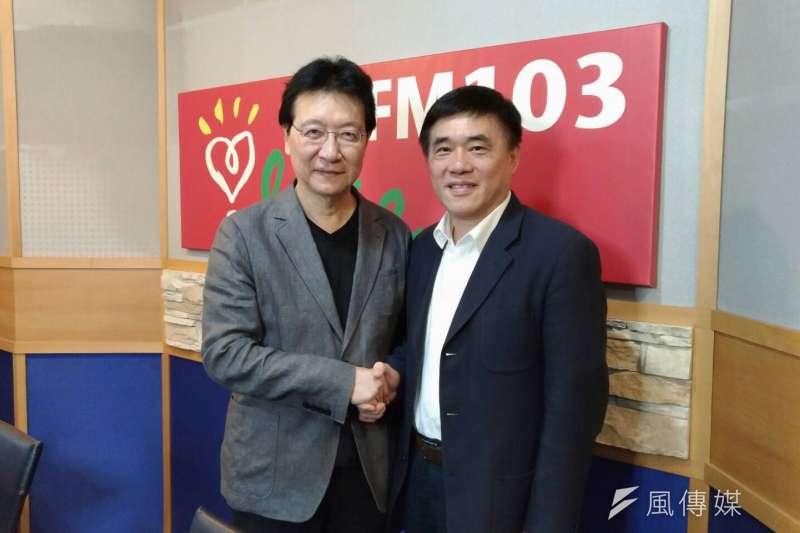國民黨副主席郝龍斌27日表示,只要陋習不改,國民黨就沒希望。圖中為國民黨副主席郝龍斌(右)與中廣董事長趙少康(左)。(郝龍斌辦公室提供)