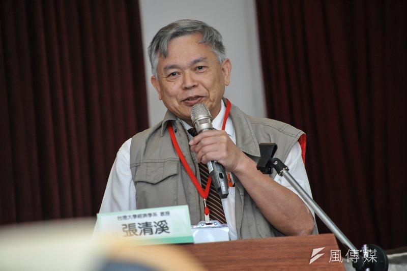 台灣大學經濟系教授張清溪表示,國民黨黨產每一毛都該還給國家,不是現在討論哪些是不當黨產,因為有更多黨產都被花掉了。(甘岱民攝)