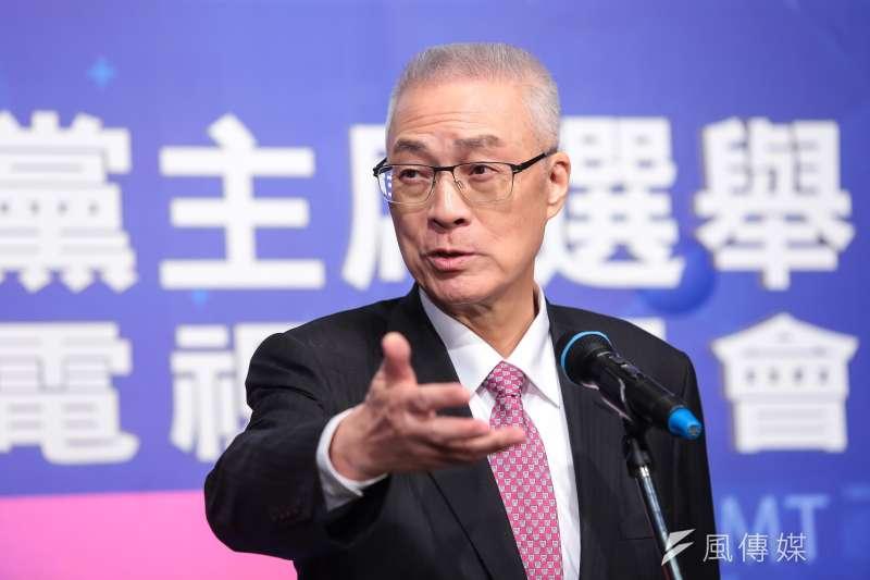 20170506-國民黨主席選舉候選人吳敦義6日於電視政見會後出席記者會。(顏麟宇攝)