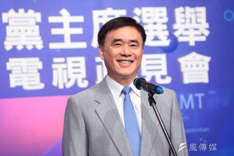 20170506-國民黨主席選舉候選人郝龍斌6日於電視政見會後出席記者會。(顏麟宇攝)