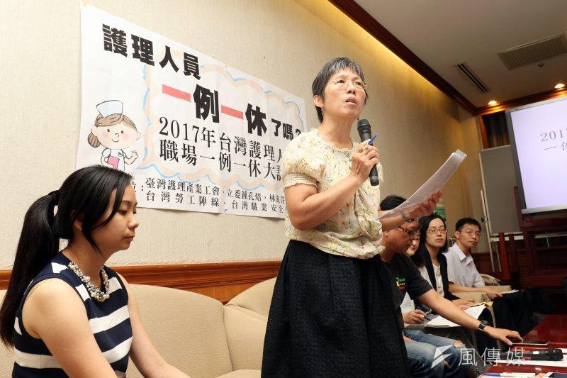 台灣護理產業工會理事長盧孳艷11日表示,在一例一休實施後,護理師每天仍超時工作1.5到2小時。(蘇仲泓攝)