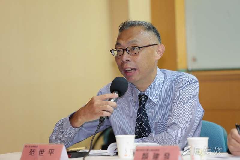 20170514-師大政治所教授范世平14日出席「兩岸關係及WHA議題民調」記者會。(顏麟宇攝)