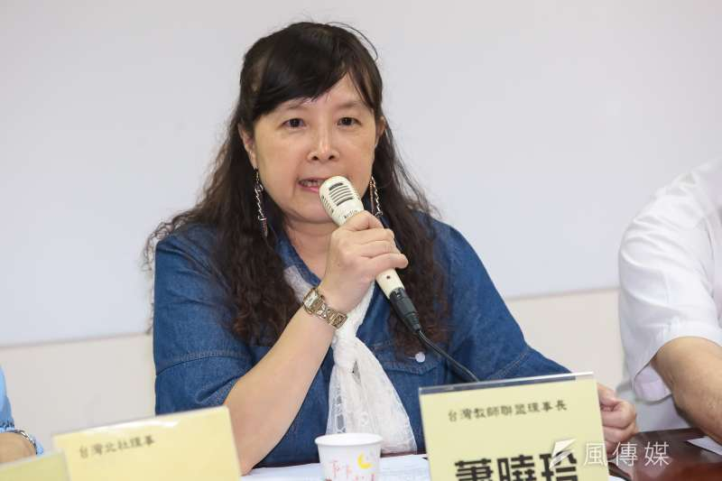 20170518-台灣教師聯盟理事長蕭曉玲18日出席「黨國司法魔掌,台灣之子醫療人權何在?」記者會。(顏麟宇攝)