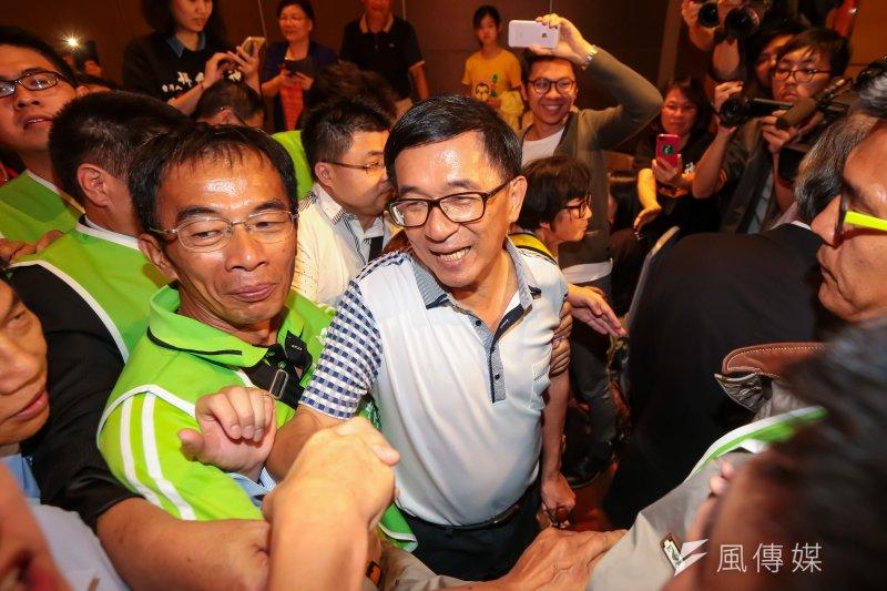前總統陳水扁昨(19)日出席凱達格蘭基金會募款餐會,不過因北上行程較累,昨在醫療團建議下留宿台北。(顏麟宇攝)