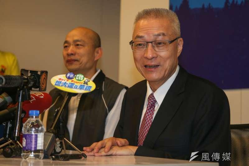 吳敦義剛當選國民黨主席時拜會韓國瑜。(資料照片,陳明仁攝)