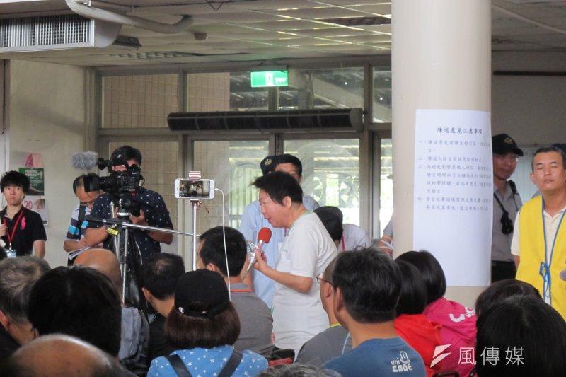 交通部鐵路工程改建局,針對台南鐵路地下化23日在長榮新城舉辦第一場公聽會。(南鐵青年提供)