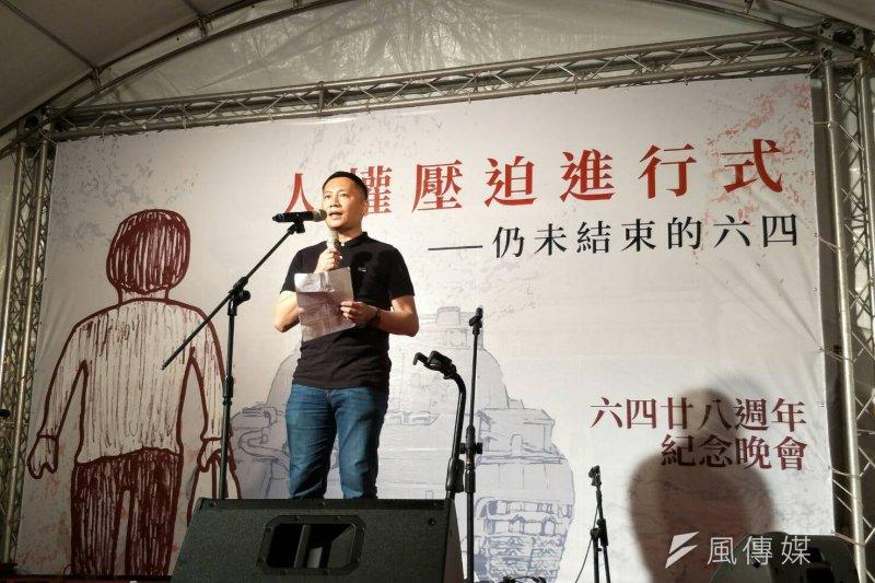 中國民運人士王丹參加六四紀念晚會。(周怡孜攝)