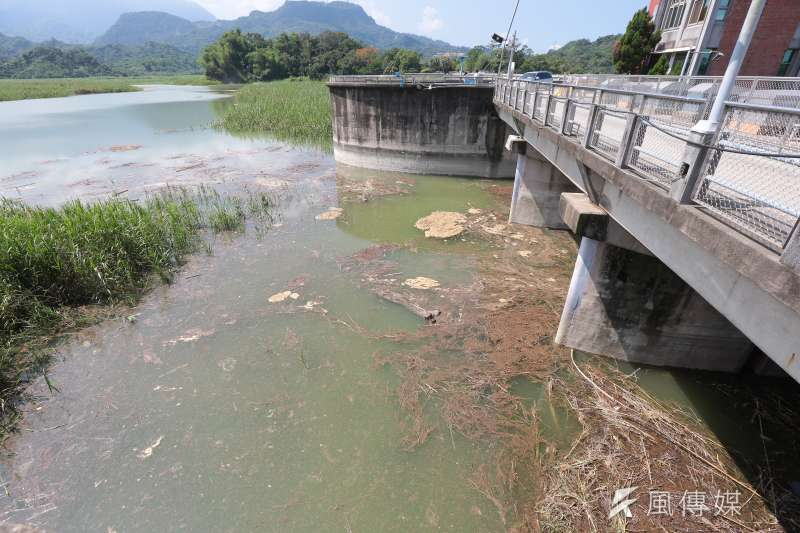 20170609-總統蔡英文、台南市長賴清德 9日至白河水庫壩頂視察「白河水庫改善計劃」,圖為白河水庫水面上小型漂流物。(顏麟宇攝)