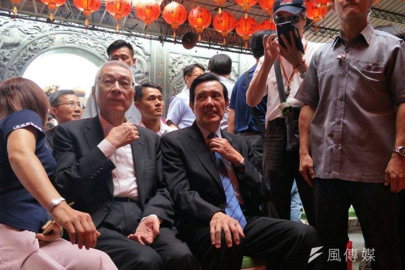 台北市指南宮孚佑帝君成道祈福法會,前總統馬英九、前副總統吳敦義出席。(周怡孜攝)